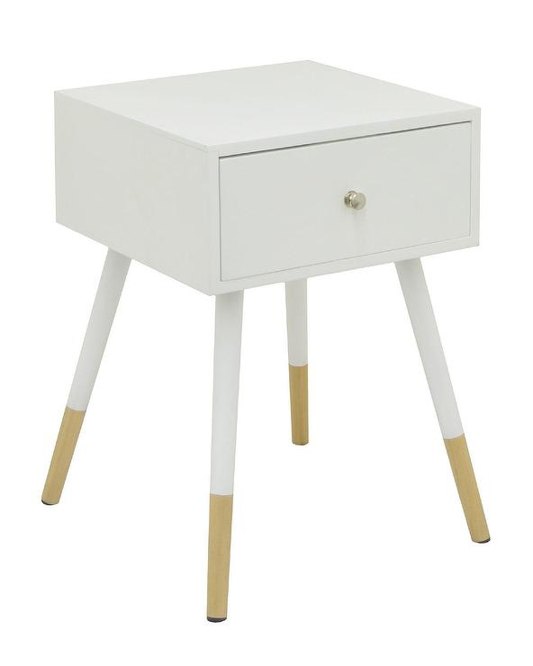 White Wooden Midcentury End Table