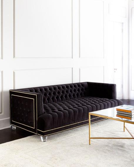 Black Tufted Gold Nailhead Trim Sofa
