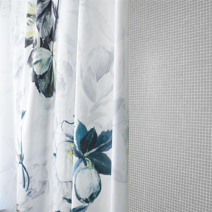 Gray Flower Printed White Shower Curtain View Full Size