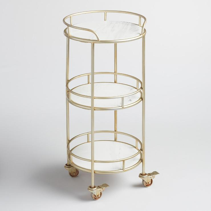 Three Tier White Marble Gold Frame Bar Cart