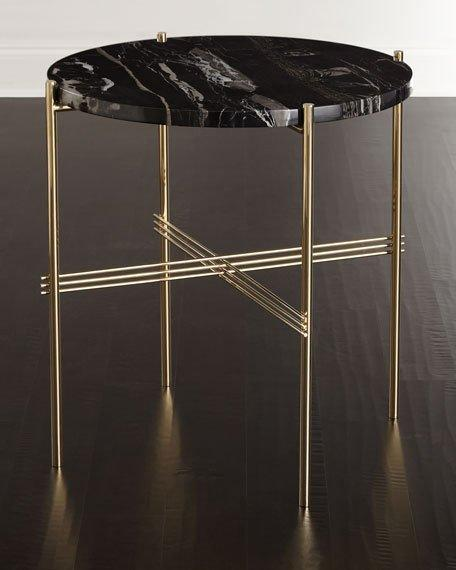 Black Marble Top Brass X Side Table - Black and brass side table