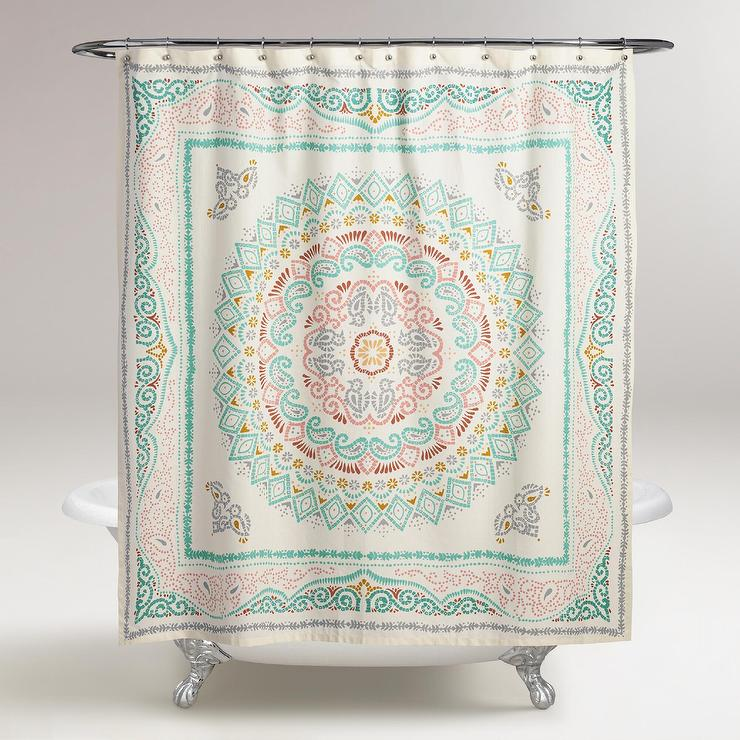 red and turquoise shower curtain.  Green And Red Center Medallion Shower Curtain