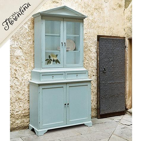 Blue Glass Doors Hutch Serving Cabinet