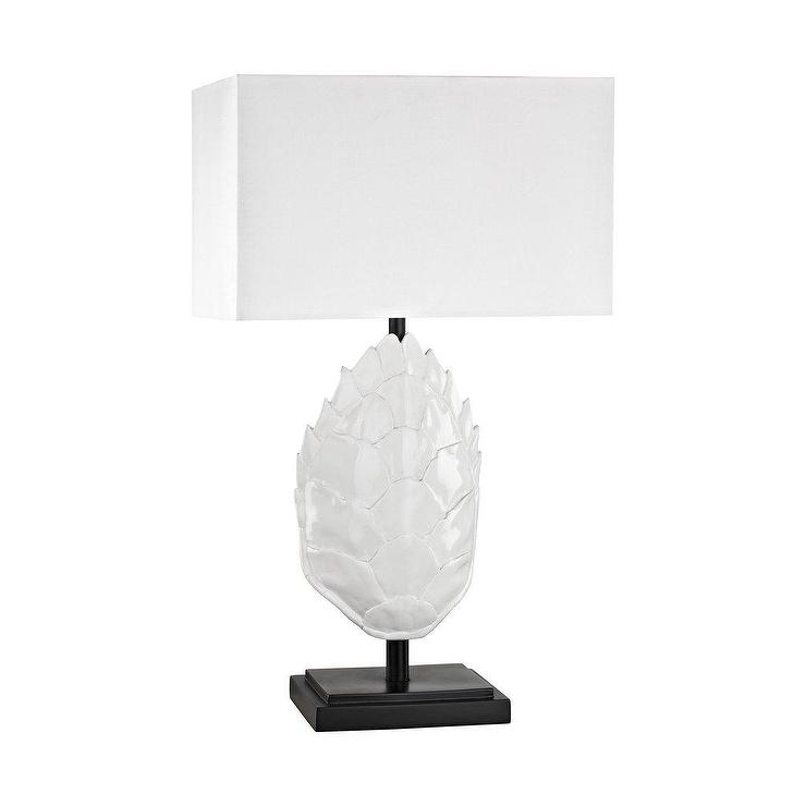 White Sculptural Scales Outdoor Table Lamp