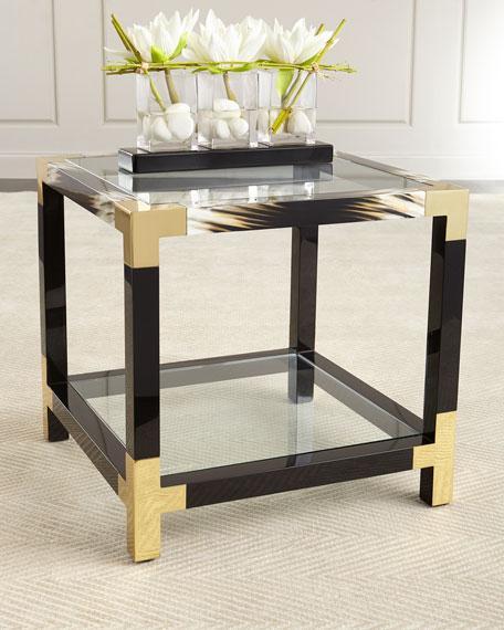 Black Wooden Framed Gold Corners Side Table