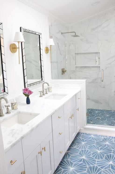 White And Gold Bathroom With Blue Cement Tile Floor