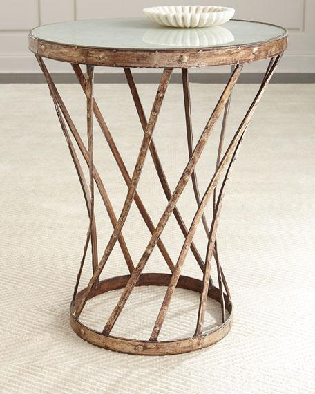 Round Glass Top Brown Iron Side Table - Iron side table with glass top