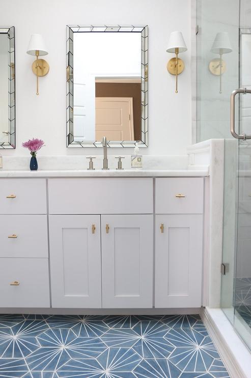 blue starburst cement bathroom floor tiles - transitional