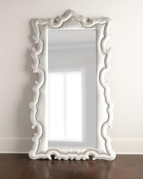 Exceptional Silver Upholstered Curved Ornate Floor Mirror