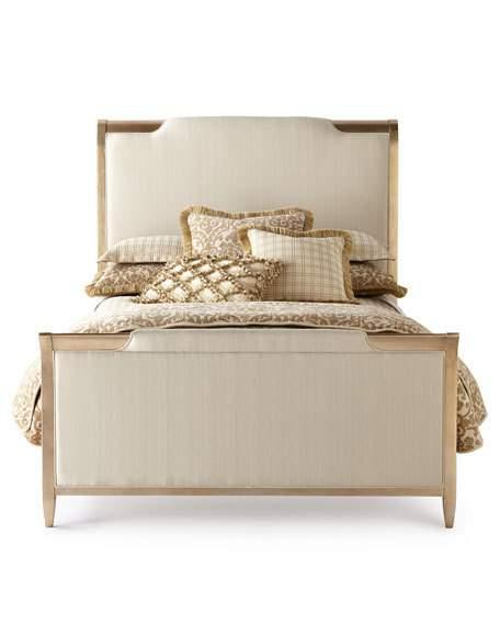 Ivory Upholstered Brass Frame Queen Bed
