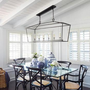 Black French Dining Table With Glass Top And X Back Chairs