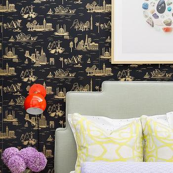 Charming Black And Gold Toile Wallpaper