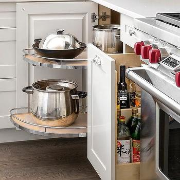Corner Cabinet With Pull Out Rotating Pot And Pan Shelves