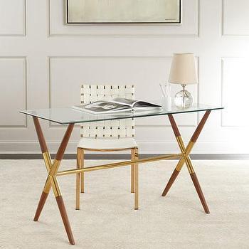 size 40 10daf d6b8e Acrylic Brushed Brass Panel Glass Desk