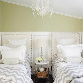 Green And Gray S Bedroom With Beadboard Trim