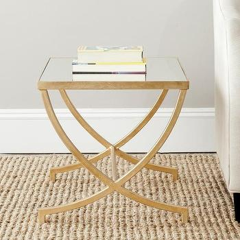 Arteriors Home Casey Tall Hammered Iron Mirror Table
