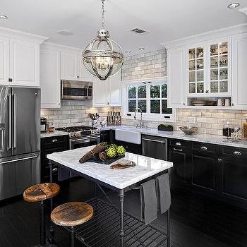 Black Bottom And White Top Kitchen Cabinets black and white kitchen - contemporary - kitchen - marie flanigan
