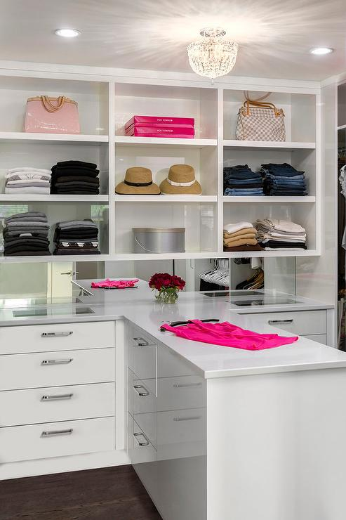 White walk in closet with see through jewelry drawers for White walk in closet