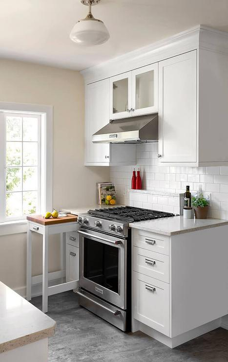 Small Kitchen With Pull Out Island Chopping Block Transitional Kitchen