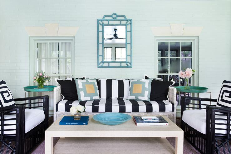 Black And White Striped Sofa With Raffia Cocktail Table