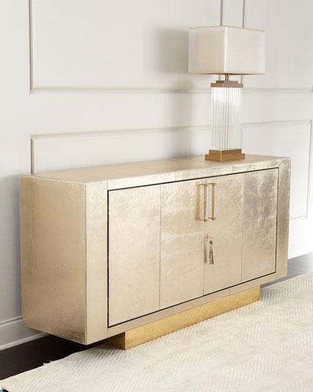 Gold Leather Wrapped Two Door Buffet - Gold Leather Buffet Table - Products, Bookmarks, Design
