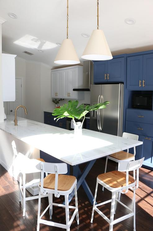 White and Gray KItchen with Gold Pendants and Dip Dyed Counter ...