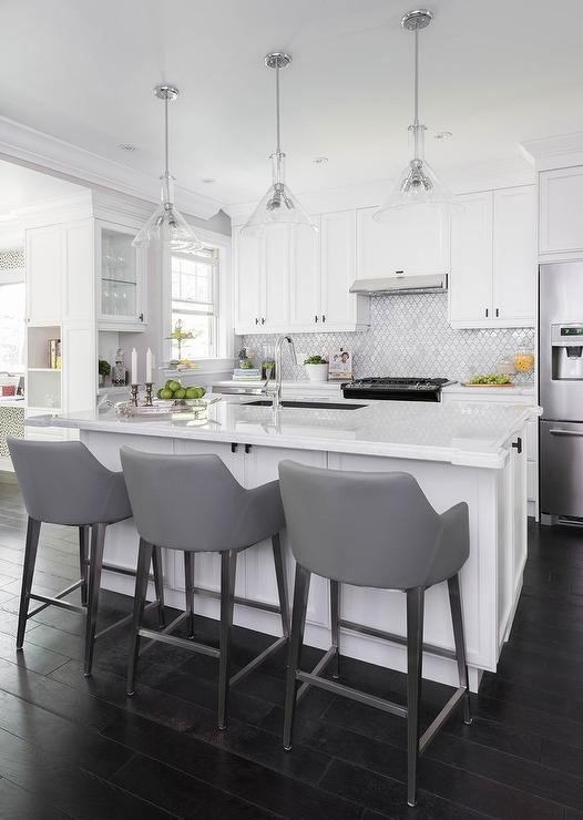 White And Gold Island Light Pendants Transitional Kitchen