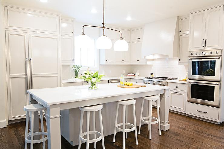 White Kitchen Island With Backless Bar Stools View Full Size