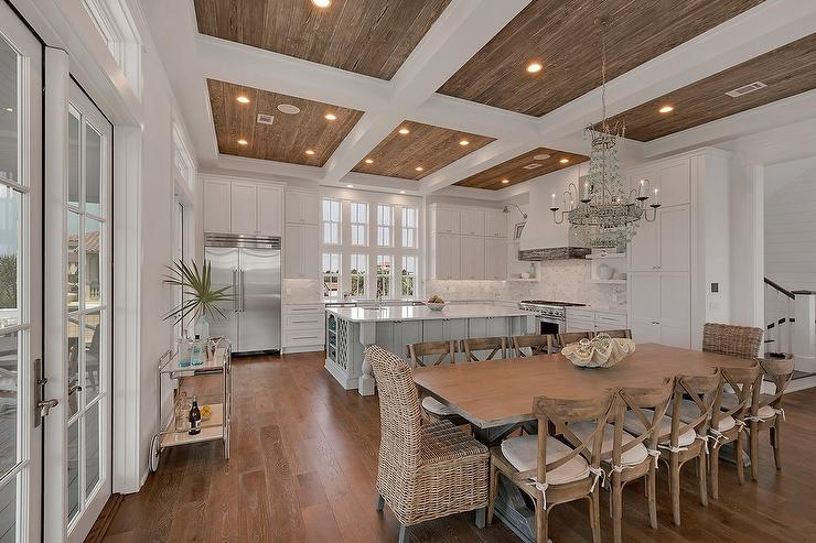 Coffered Ceiling With Wood Trim Cottage Kitchen