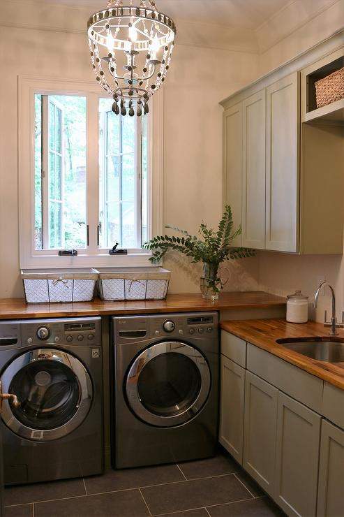 Gray Cottage Laundry Room With Wood Countertops Cottage