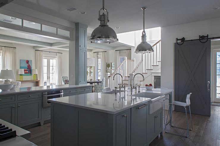 Gray Kitchen Island With Two Apron Sinks Cottage Kitchen