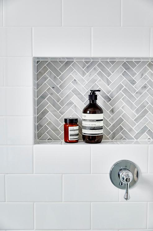 Gray Marble Subway Tile Surround on bathroom vanity scale