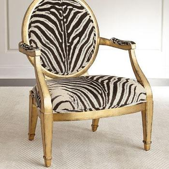 Zebra Print Gold Frame Round Back Accent Chair