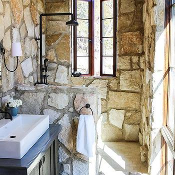 Delicieux Rustic Stone Shower With Tumbled Marble Brick Floor