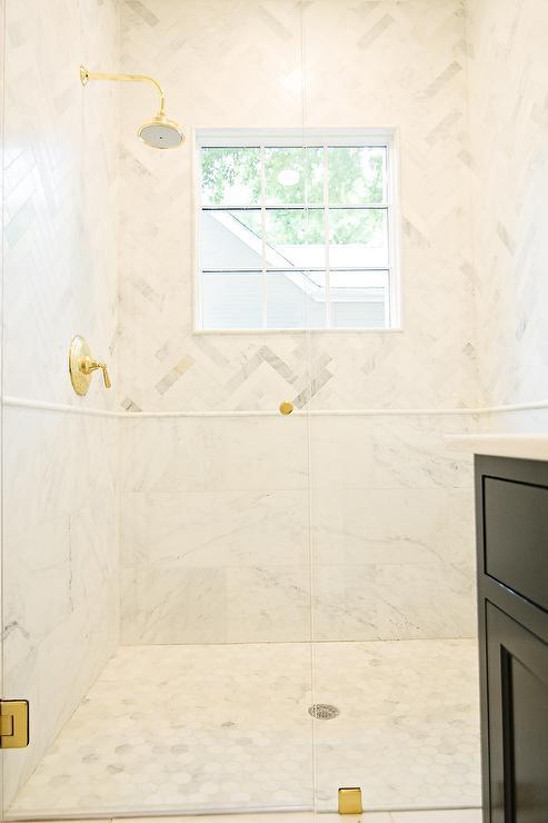 Marble Herringbone Shower Tiles with Marble Pencil Rail ...