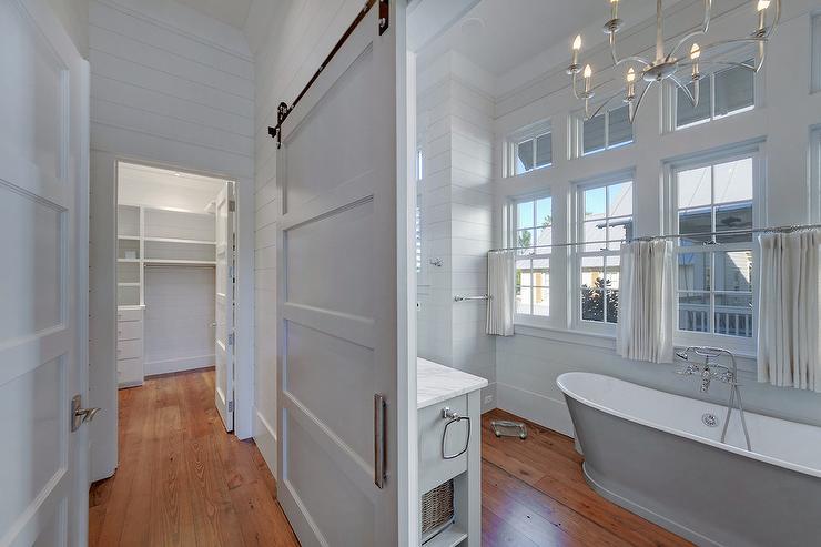 Master Bathroom Barn Door bathroom gray barn door design ideas