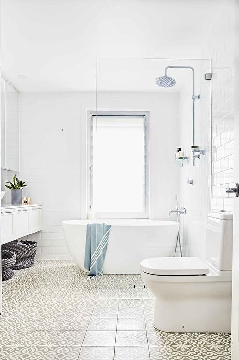 Bathtub In Shower With Glass Partition Transitional Bathroom - Glass partition wall for bathroom