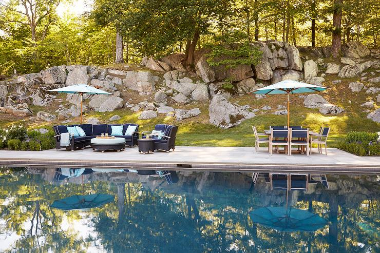 Navy Blue Outdoor Dining Set With Turquoise Umbrella