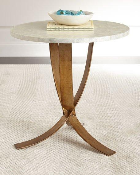 Round Capiz Shell Bronze Legs Side Table