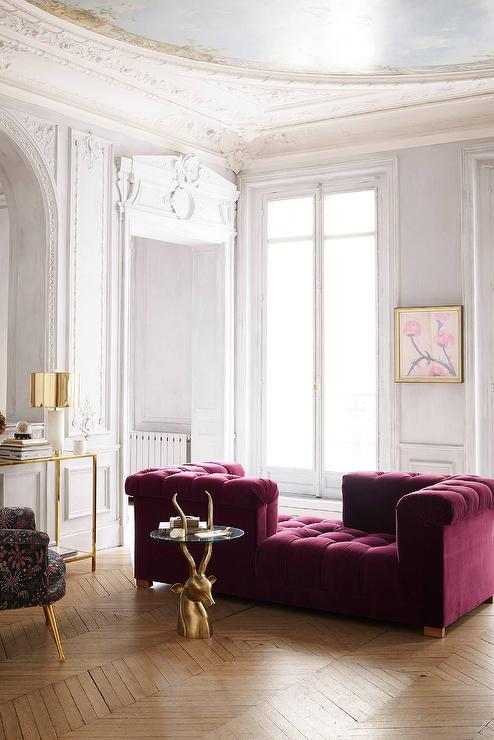 Velvet Purple Tete A Tete Sofa