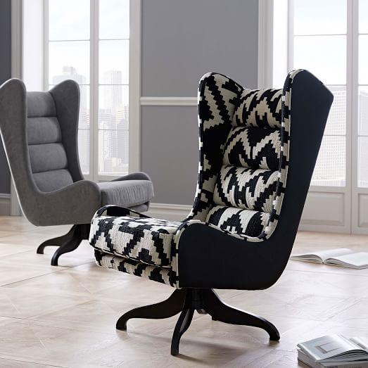 Black And White Chevron Swivel Wing Chair