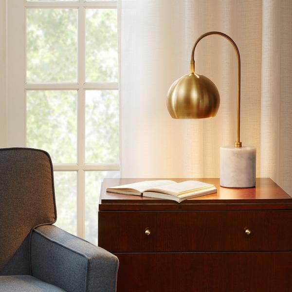 White And Brass Curved Body Table Lamp