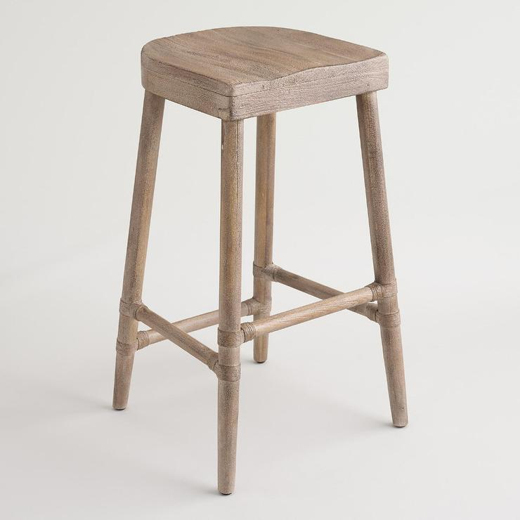 Rustic Wood Gonesse Bar Stool : gray washed wooden saddle seat barstool from www.decorpad.com size 740 x 740 jpeg 36kB