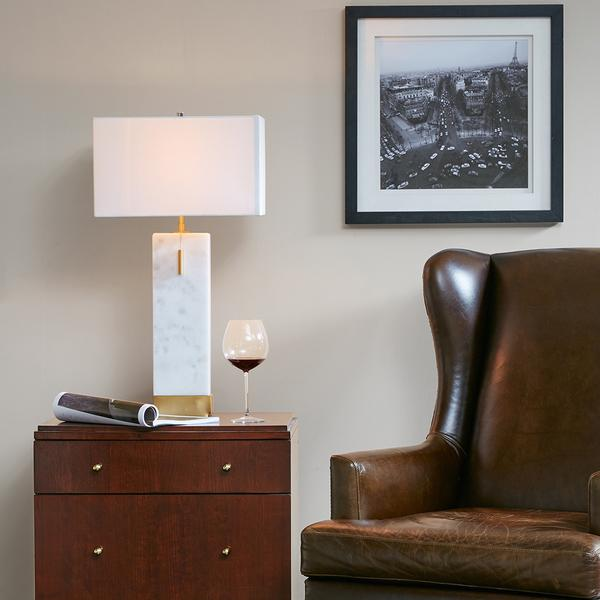 White Marble Gold Accents Large Table Lamp