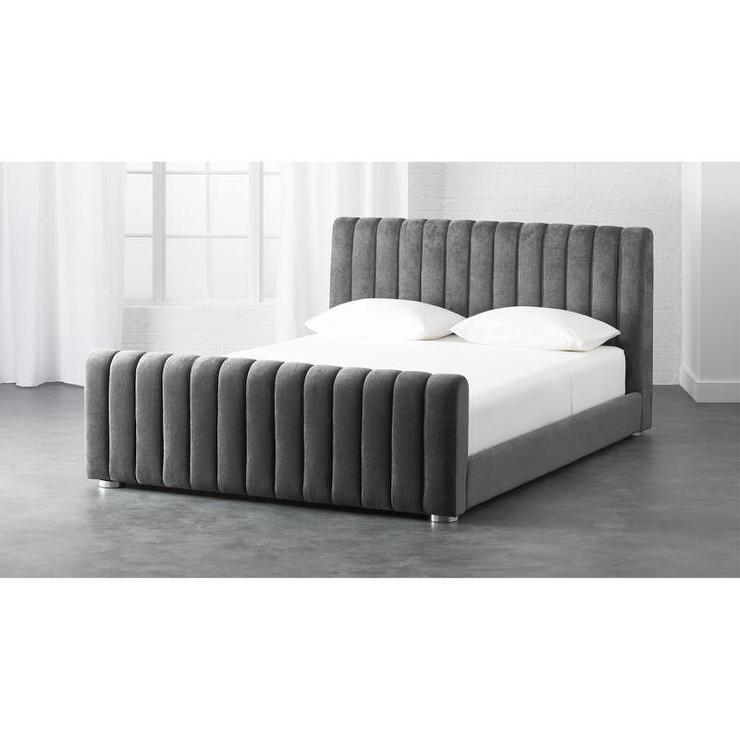 Gray Channel Tufted Velvet Bed