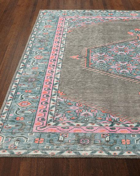 Gray and Teal Vintage Floral Rug