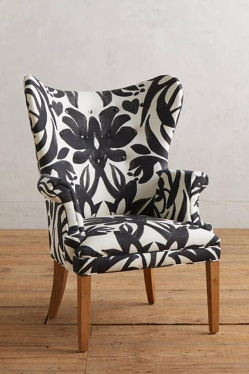 Black And White Leaf Pattern Motif Wingback Chair