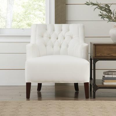 White Deep Tufted Track Arms Chair