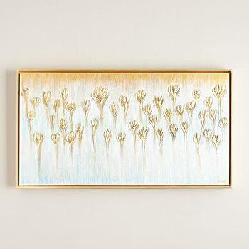 gold and white floral original painting