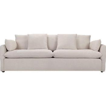 White Linen Upholstered Sofa